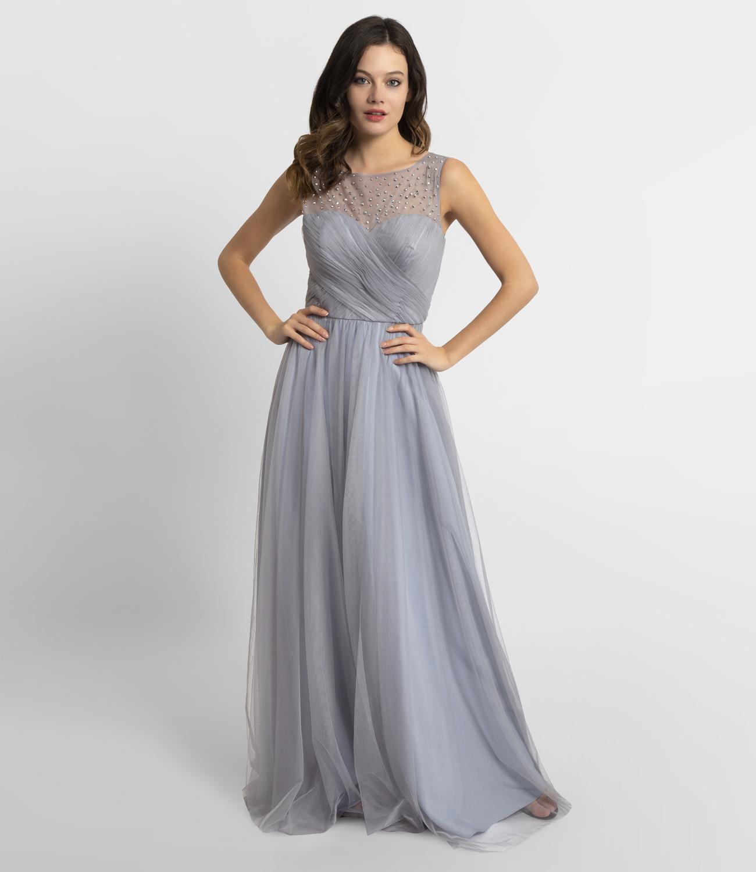 Abendkleid aus weichem Tüll , rauchblau  APART Fashion