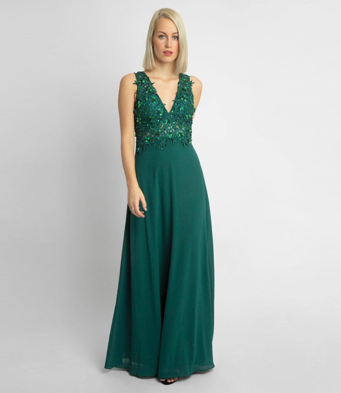 Abendkleid aus Chiffon und Spitze, dunkelgrün  APART Fashion
