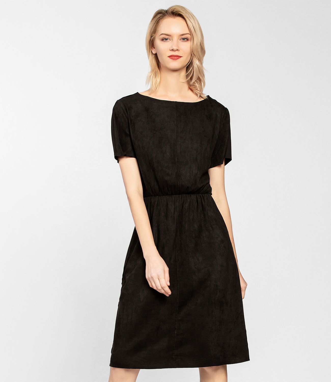 Und Fashion Jersey KunstvelourslederSchwarzApart Kleid Aus 7fgyIbvY6