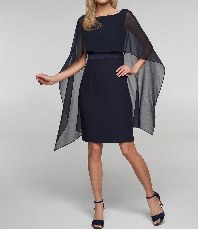 schwarzes abendkleid mit cape aus chiffon apart fashion. Black Bedroom Furniture Sets. Home Design Ideas