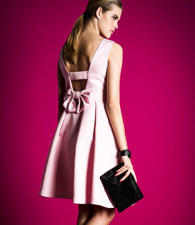Abendkleid, kurz, mit Schleife am Rücken  rosa  APART Fashion
