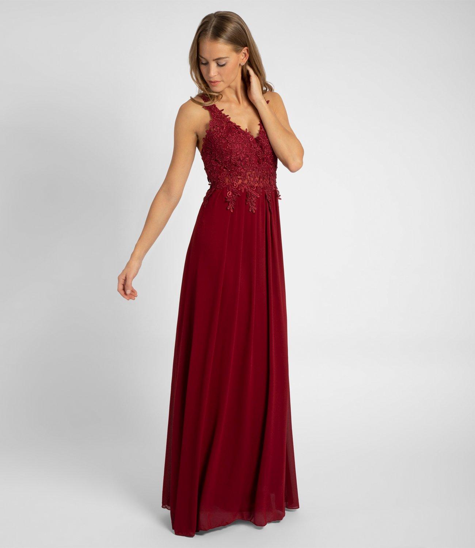 Abendkleid mit Blütenspitze, bordeaux  APART Fashion