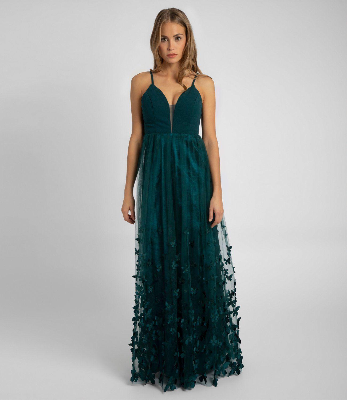 Abendkleid Mit Schmetterlingen Smaragd Apart Fashion