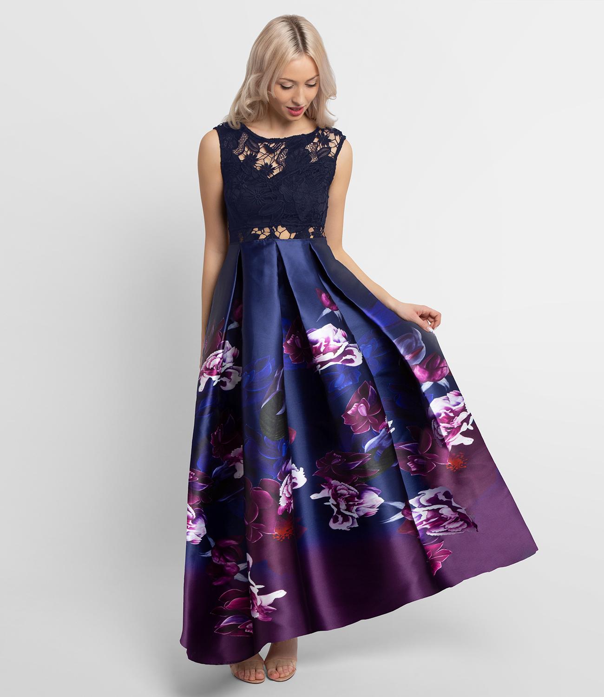 Abenkleid mit Spitze und Faltenrock, dunkelblau-multicolor ...