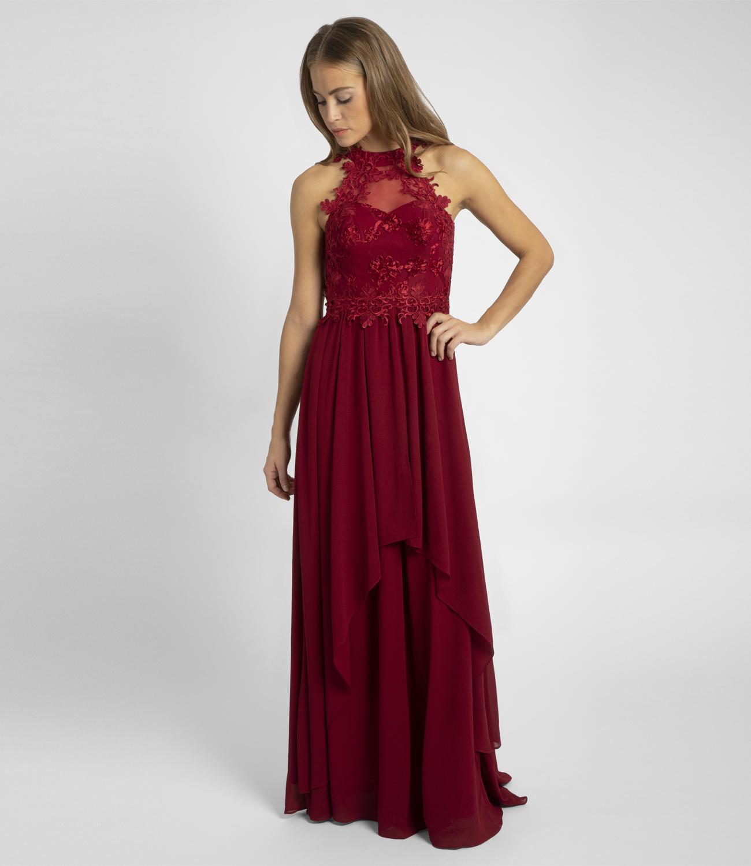 Abendkleid nahezu rückenfrei, mit Trägern aus Spitze ...